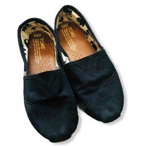 TOMS Classic Black Alpargata Canvas Slip On Shoes